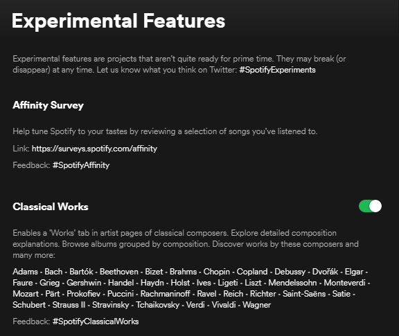 Experimental feature in spotify